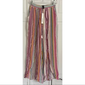 NWT Bloomingdales Aqua Stripe Open Slit Pants